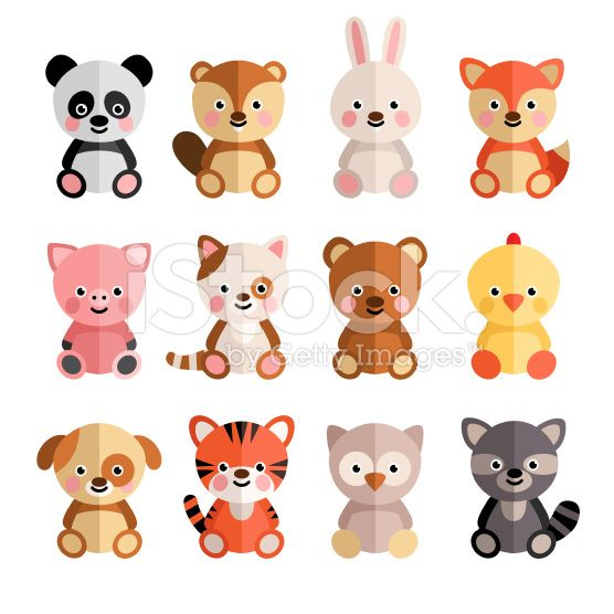 Vector Set Of Cartoon Animals In The Flat Style Hare Jaguar Tiger Cartoon Animals Cute Animal Drawings Cute Animals Images