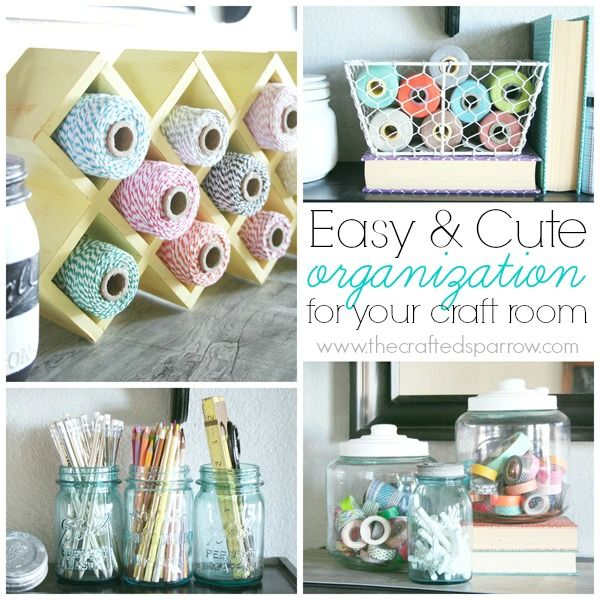 Easy Craft Room Organization, using cute decor to get things organzied - thecraftedsparrow.com