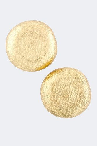 KARMAS CANVAS TEXTURED BUTTON EARRINGS (Gold)