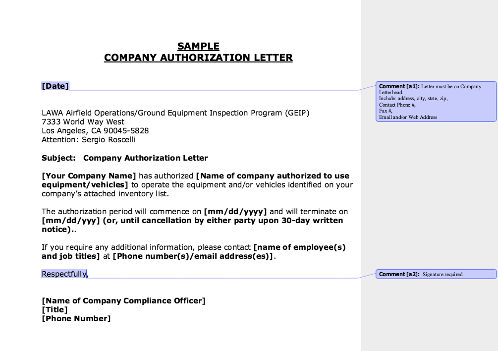 Sample Company Authorization Letter  HttpResumesdesignCom