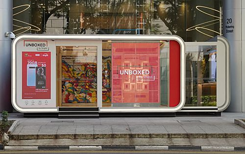 UNBOXED by Singtel is a 100% unmanned experiential pop-up concept store,  #100 #concept #experiential #PopUp