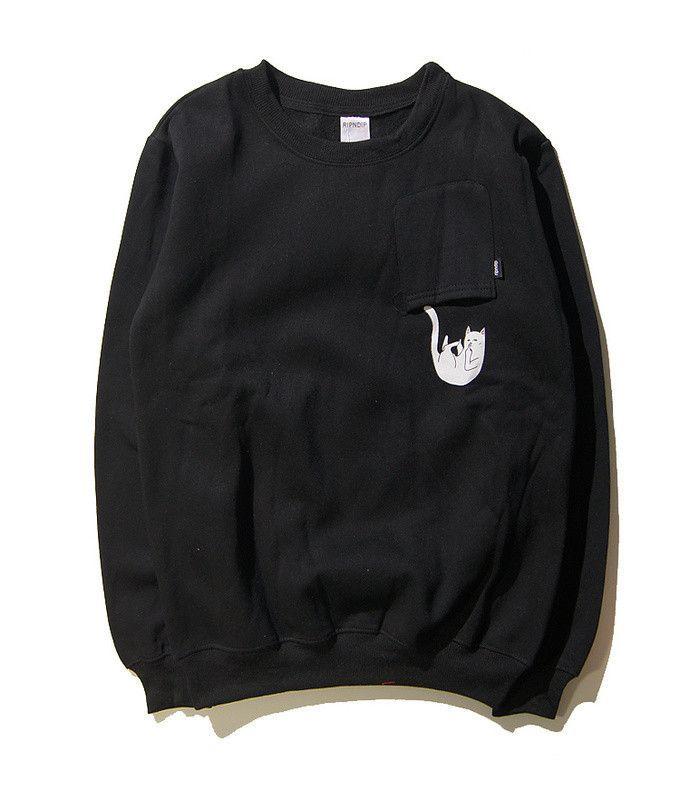 New York Fashion Brand Ripndip Hoodie Sweatshirts Men Women Hip Hop O-neck  Cotton Cartoon Pocket Cat Yeezy Ripndip Couple Hoodie 4b67a5230c71