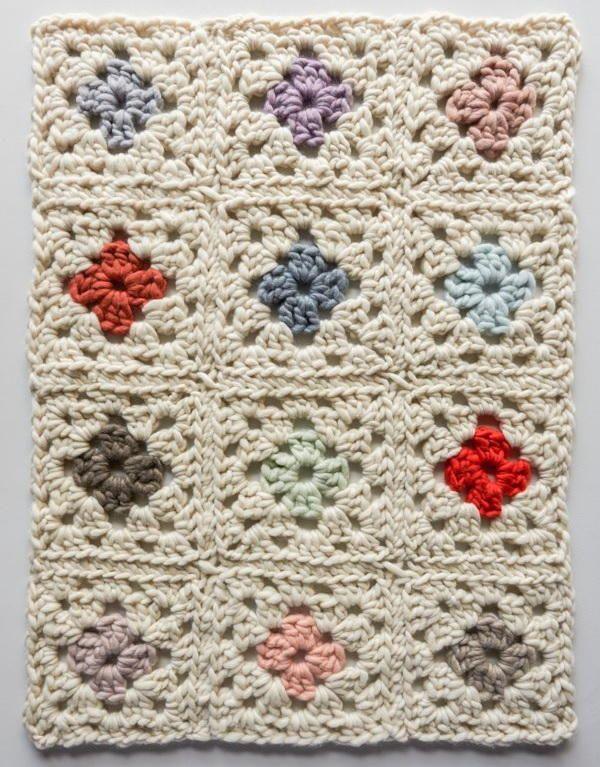 Vintage Floral Granny Square Afghan | Ganchillo, Bordado y Arte