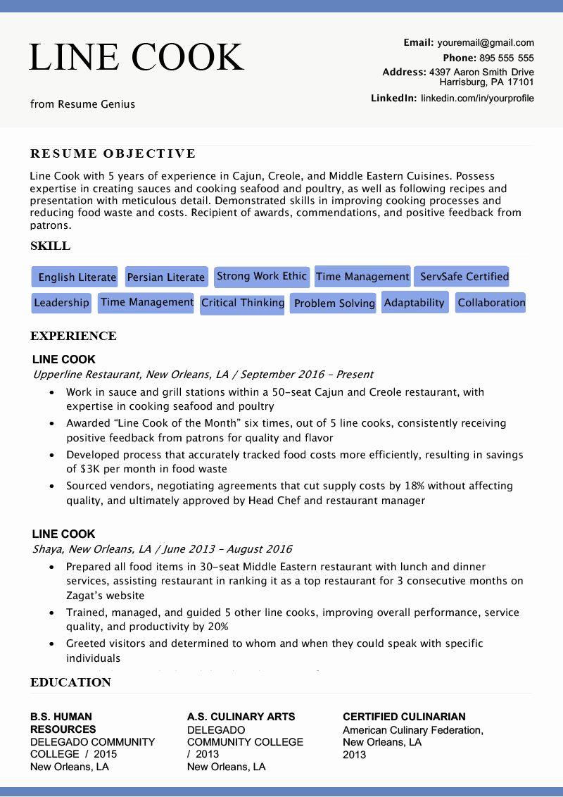 Kitchen Manager Job Description Resume Unique Line Cook Resume Sample Writing Tips Resume Examples Job Resume Samples Good Resume Examples
