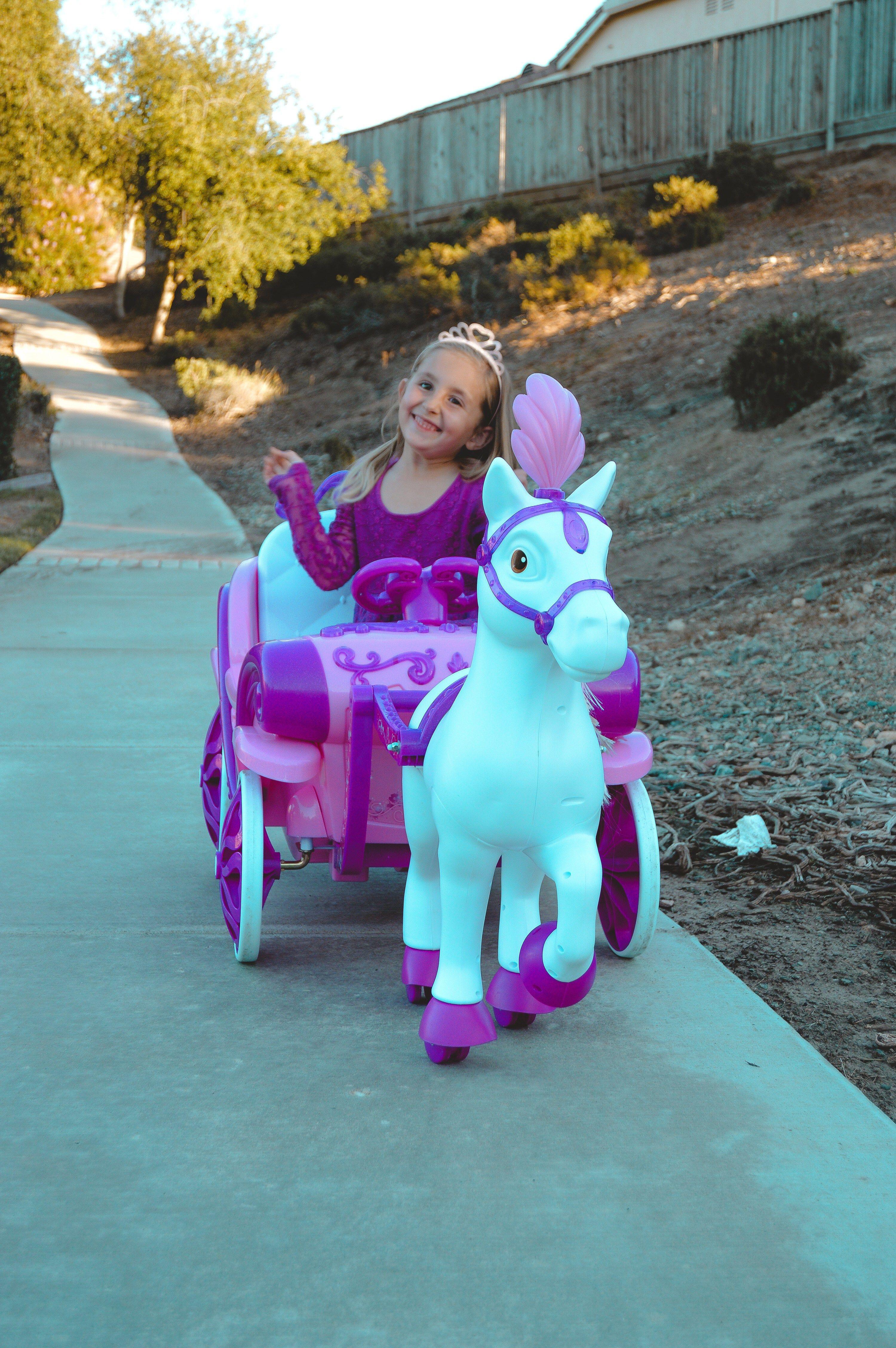 6v Battery Kids Ride On Girls Disney Princess Dream Horse Carriage Motorbike