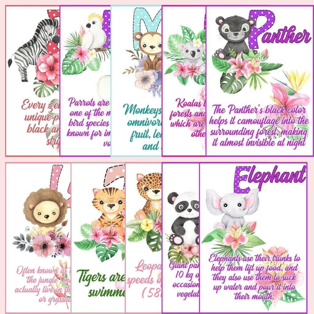 Kids animal memory matching game cards animal facts