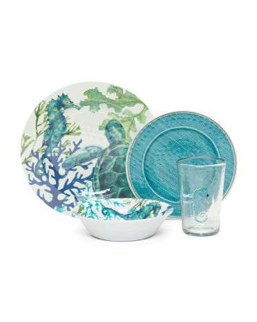 16pc Patio Marine Life Dinner Set   Most Wanted   T.J.Maxx