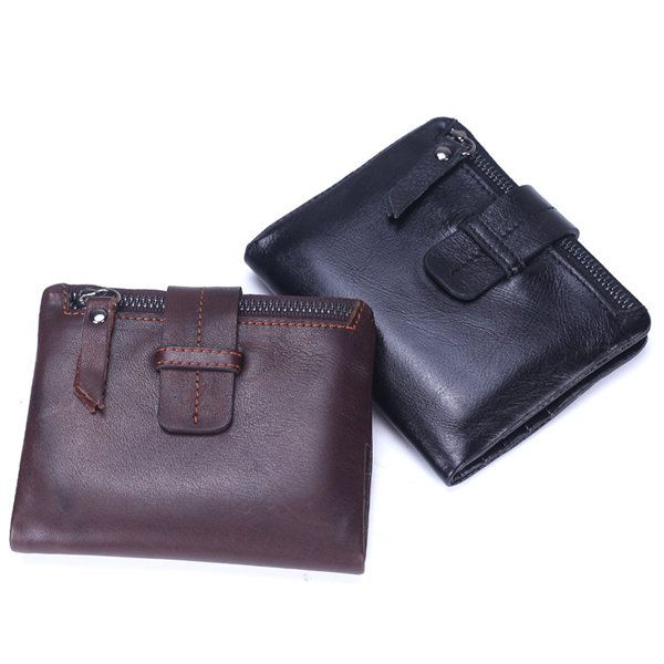 Genuine Leather Wallet 6 Card Slots Card Holder Cowhide Coin Purse For Women Men