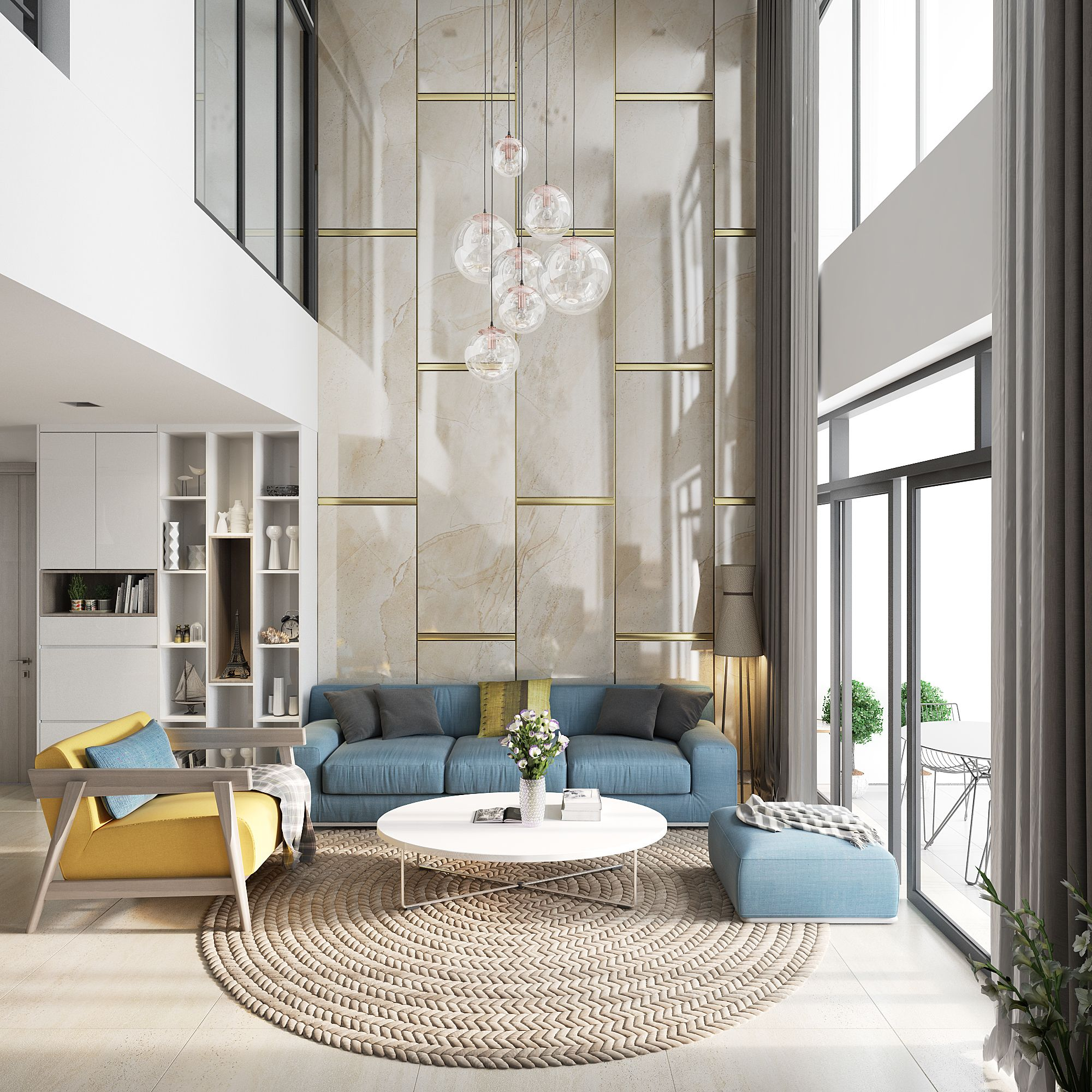 D A T T R A N On Behance Double Height Living Room High Ceiling Living Room Luxury Interior Design Living Room