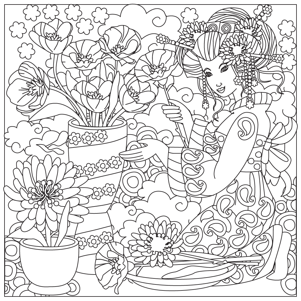 Free Japanese Culture Coloring Pages | Stress relief ...