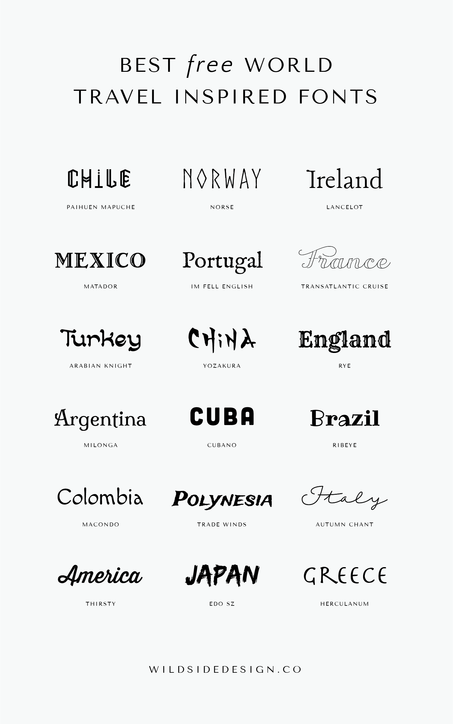 The Best Free World Travel Inspired Fonts Wild Side Design Co Travel Fonts Aesthetic Fonts Text Logo Design