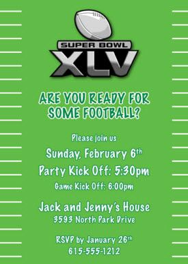 Super Bowl XLV Party Invitation Wording Invitation wording Party