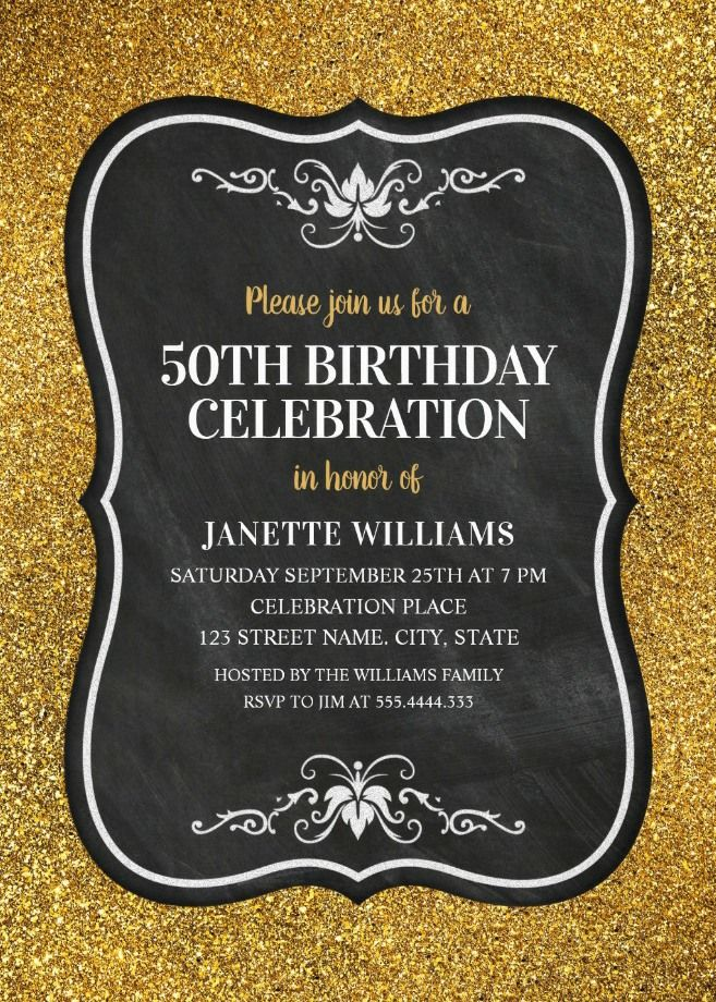 glitter adult 50th birthday party invitations chalkboard gold invitation templates elegant classy and fancy personalized birthday invitations