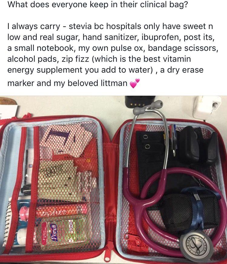 Awesome ideas for nurse bag supplies. | Nursing school
