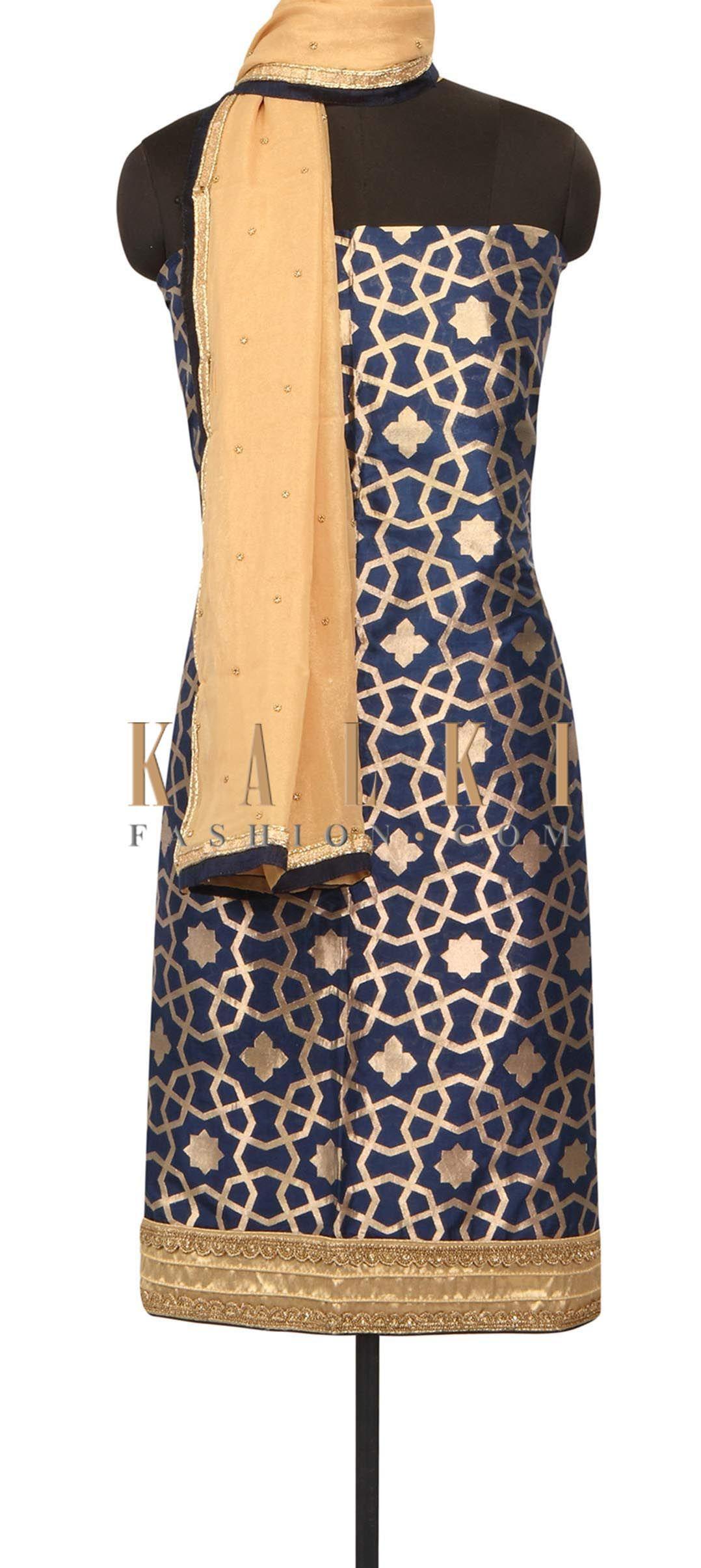 Navy blue unstitched suit in embroidered hem line only on Kalki