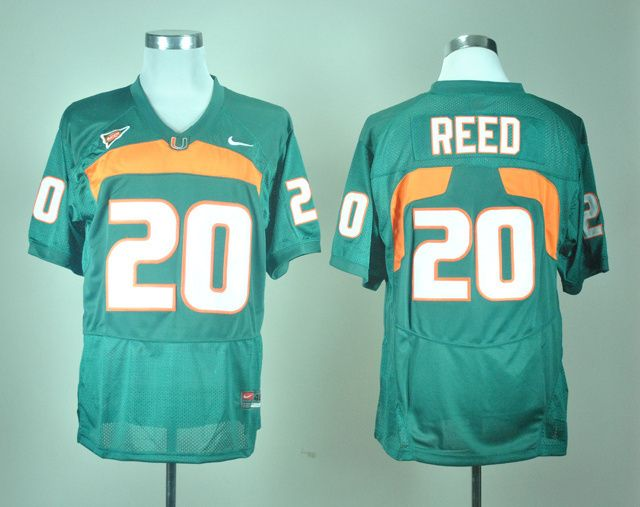 sale retailer 23a4e 8c18e Men's NCAA Miami Hurricanes #20 Ed Reed Green Jersey | cheap ...