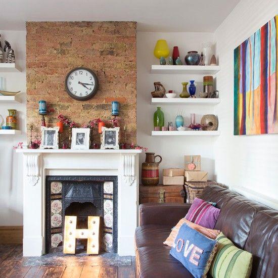 Alwinton Corner Sofa Handmade Fabric  Exposed Brick FireplacesDecorative FireplaceModern  Living RoomsLiving Room. Alwinton Corner Sofa Handmade Fabric   Shelves  Hearth and An