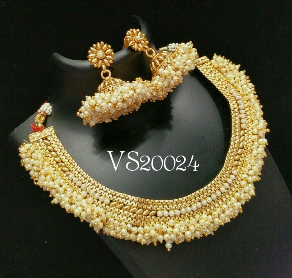 Pai jewellers gold necklace designs latest indian jewellery designs - Indian Jewellery Designer Necklace Jhumki Earrings Set Antique South Indian Jewellery