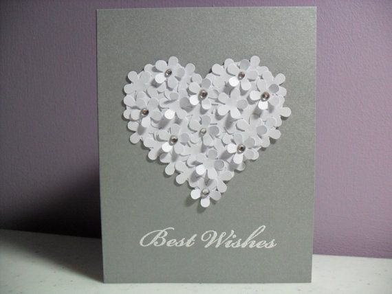 LARGE Personalised Wedding Card-Engagement or Anniversary Congrats /'FlowerHeart/'