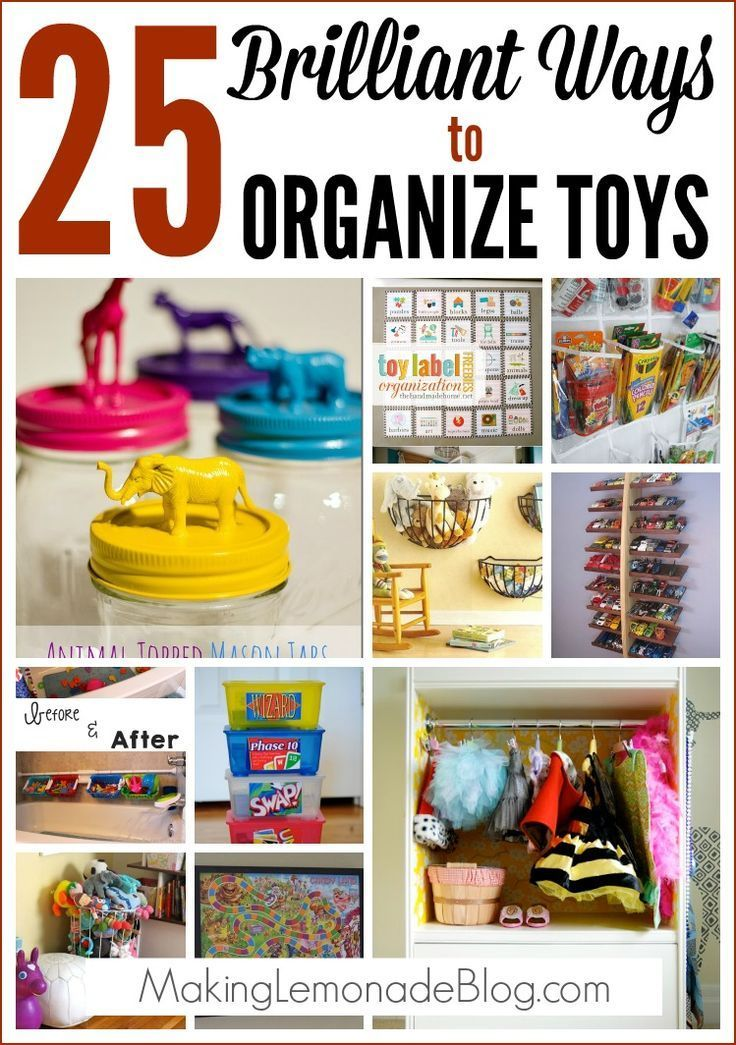 25 Brilliant Ways to Organize Toys-- check out these easy and clever ideas for organizing ALL your difficult to control toys-- from craft supplies, LEGOS, books, stuffed animals, dress-up clothes, outdoor toys and more. Creative ideas you'll want to visit again and again!
