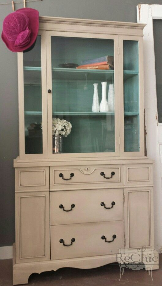 Solid Wood Duncan Phyfe Hutch Painted In A Tiffany Blue Coloured Chalk Paint Benjamin Moore Grant Beige Diy On Exterior Www Facebook