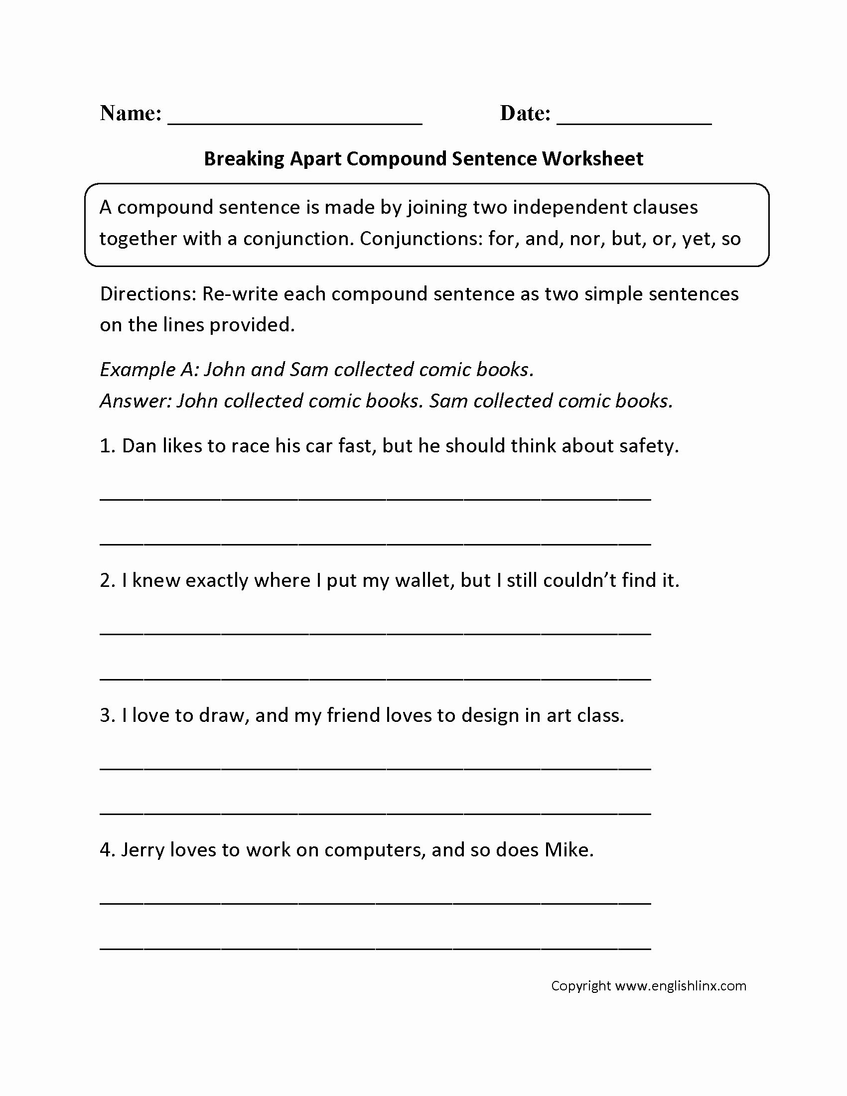 Compound Sentences Worksheet Inspirational Sentence
