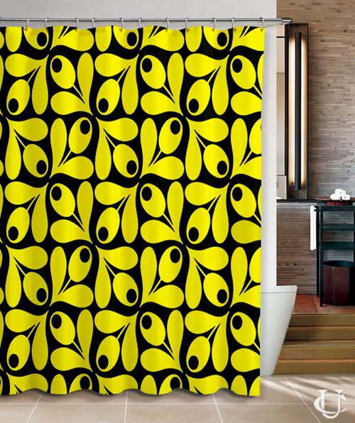 Cheap Orla Kiely Inspirate Patern Yellow Flower Shower Curtain