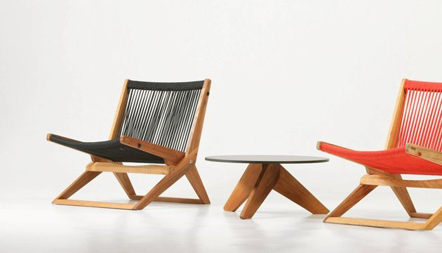 lone low table and xl folding lounge chair designed for hotel lone