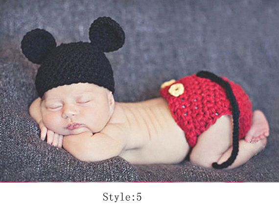 Crochet Newborn Baby Photo Prop Mickey Mouse Inspired Hat & Diaper ...