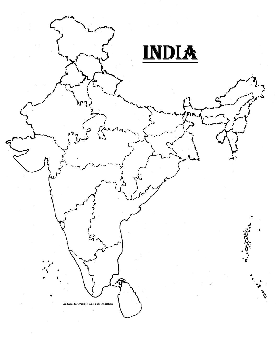 outline of india map