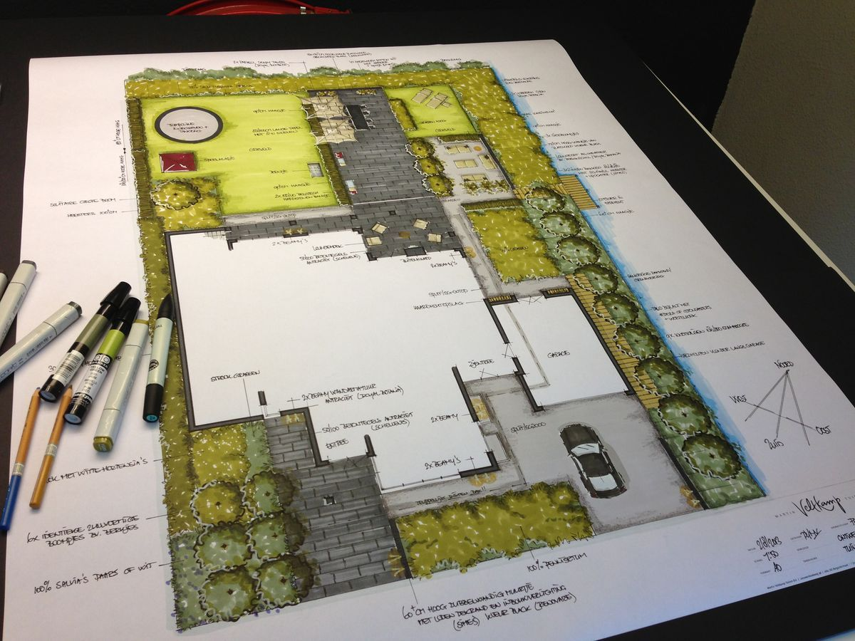 Tuinontwerp particuliere tuin door de tuinarchitecten van for Plan rendering ideas
