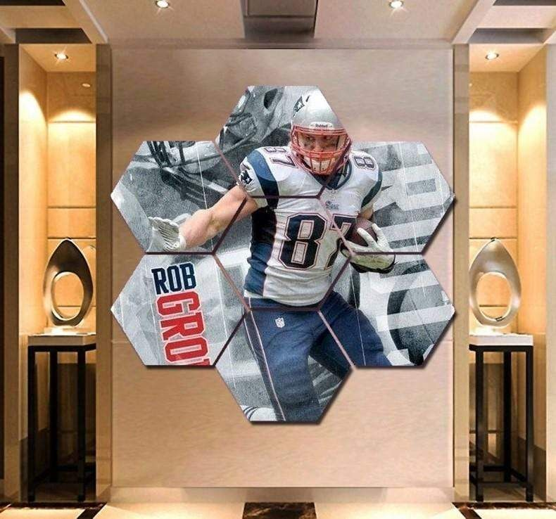 Rob Gronkowski Wall Art Canvas Painting Hexagon Framed – X-Large – 59 – 61 Inch