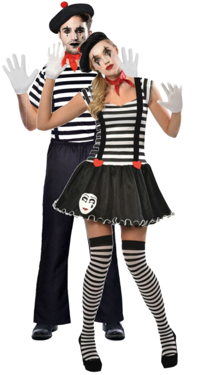 Mr Mrs Mime Costumes Couples Fancy Dress Circus Costume Diy Mime Costume