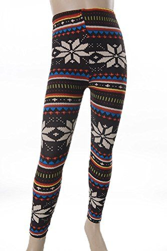 L4U Girls Nordic Snowflake Brushed Printed Fashion Leggings. Available in two sizes: S/M, and L/XL.