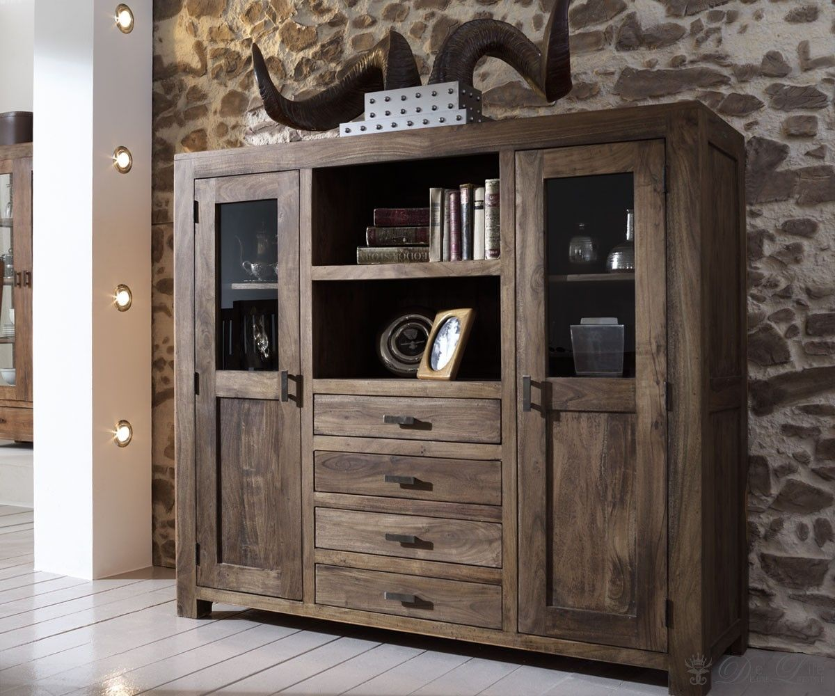 guru kommode akazie tabak 160x142cm highboard massiv 2 t ren by wolf massiv arbeiten aufbewahren. Black Bedroom Furniture Sets. Home Design Ideas