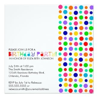 This colorful polka dot party invitation would be perfect for your celebration.  Please visit this party page for more great supplies including a fun party pack, favors, decorations, cake decorations and party activities.