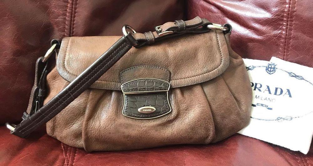 24bc605f4b5e Preowned Prada Skipper Shoulder Bag/ Brown Leather Crocodile Trim@ebay  @pinterest #fashion #product #shoulder #women #guccigang