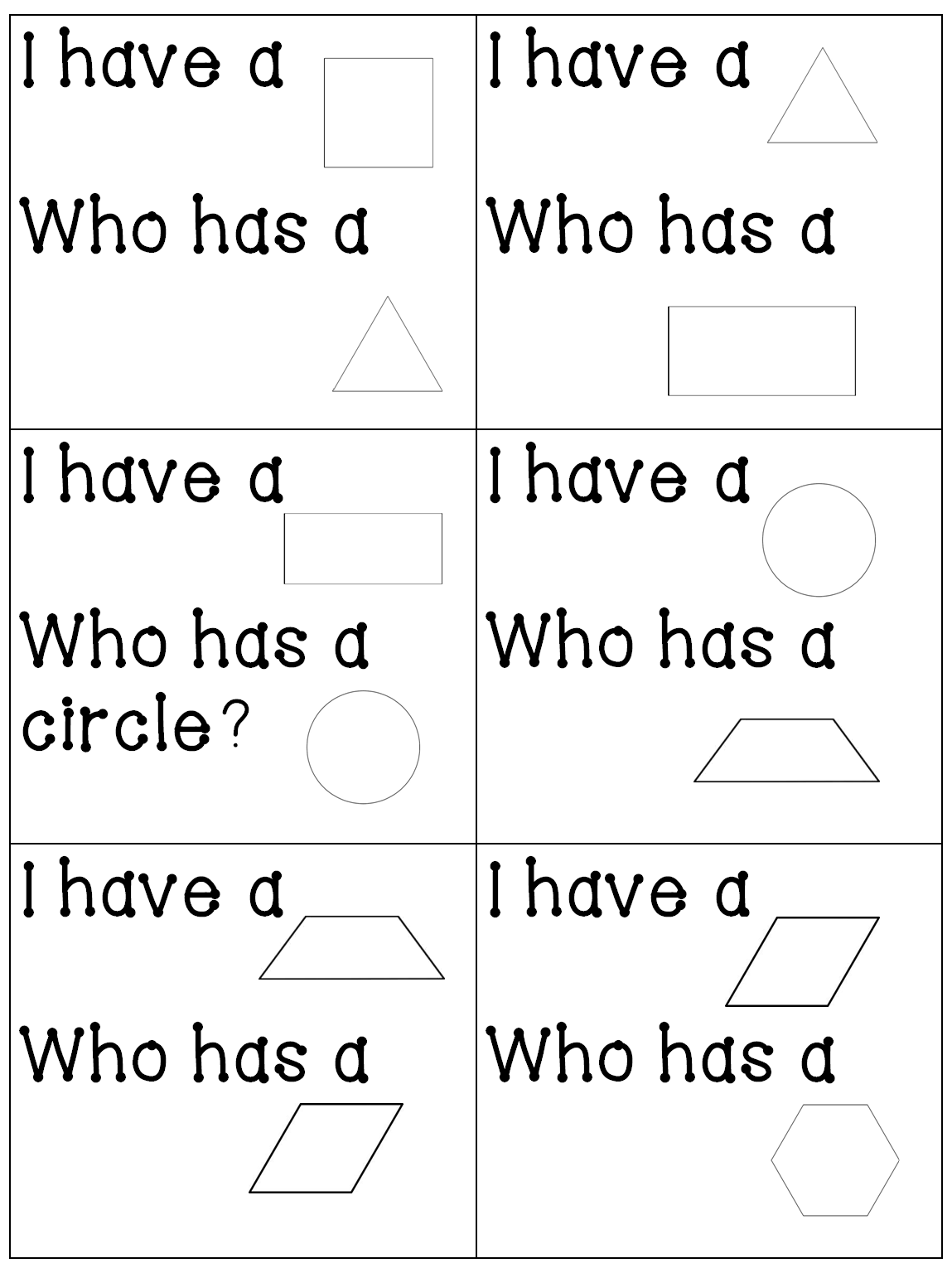 I Have Who Has Shape Game For Both Plane Solid Figures Lots Of Other Great Geometry Activities Too Elementary Math Teaching Math Preschool Math [ 1530 x 1149 Pixel ]