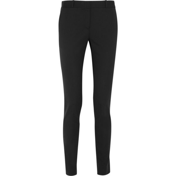 The Row Franklin stretch-wool straight-leg pants ($790) ❤ liked on Polyvore featuring pants, black, black straight leg pants, straight leg trousers, black trousers, black pants and tailored pants