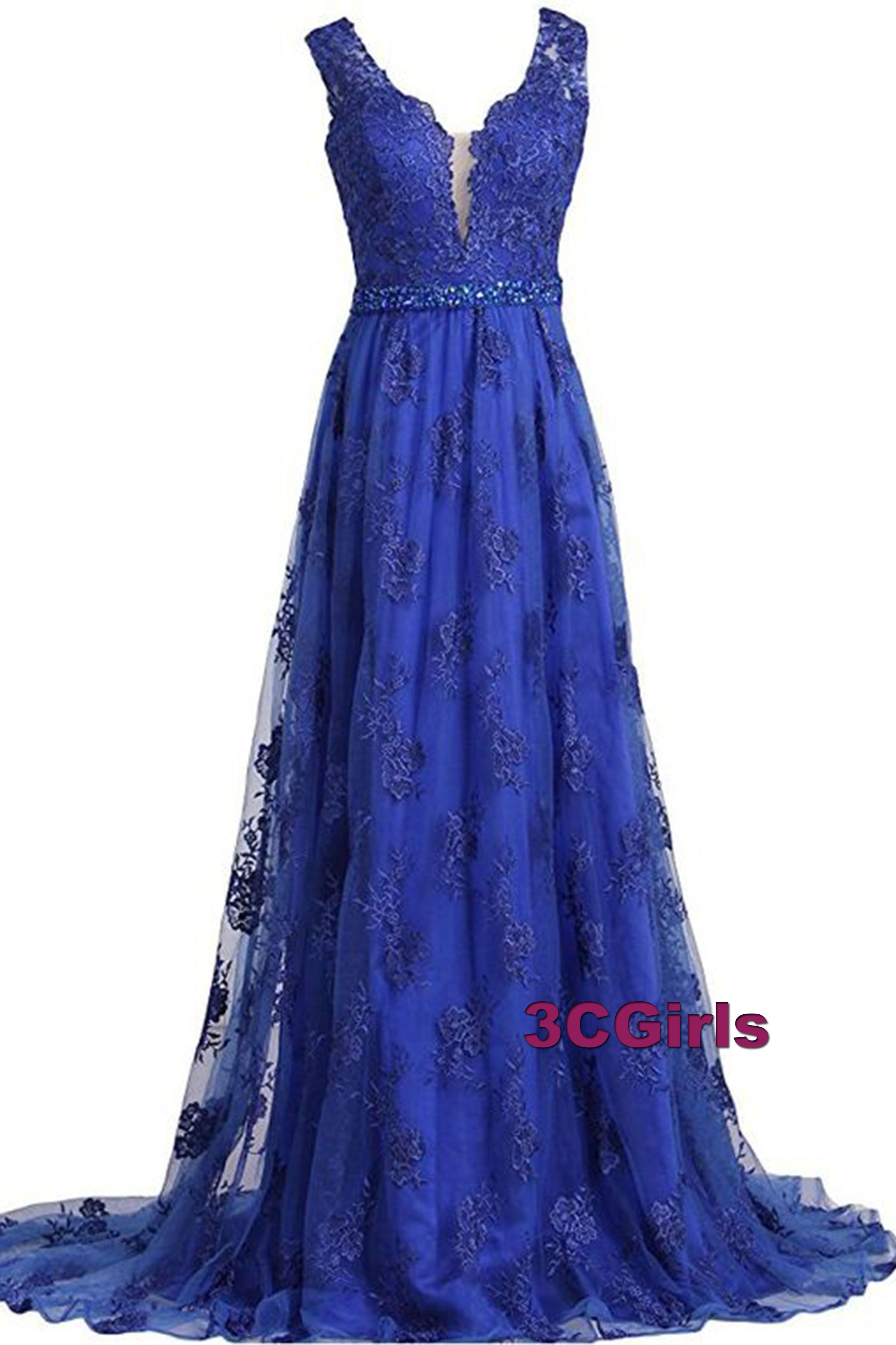 Royal blue lace prom dress ball gown prom dresses vintage