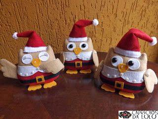 Corujas natalinas aqui no meu ateli�!!!