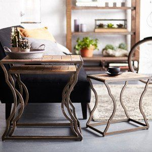 rectangular side tables accent tables distressed rustic antique vintage farmhouse