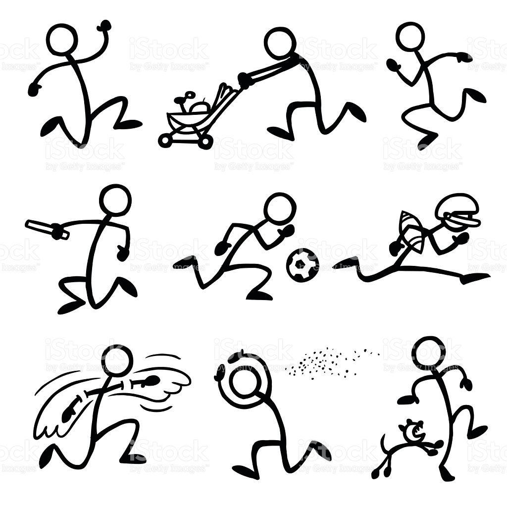 Stick Figure People Sprinting Figura Con Palos Tipos De Letras Clases De Dibujo
