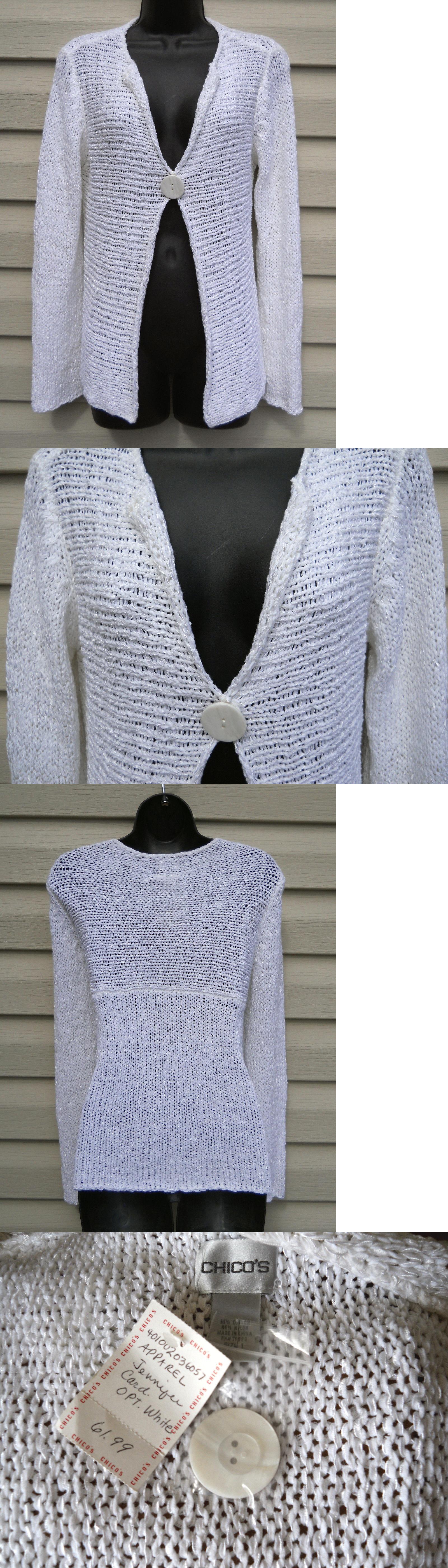 Sweaters 51582: Chico S Jennifer White Cardigan Sweater New W Tag ...