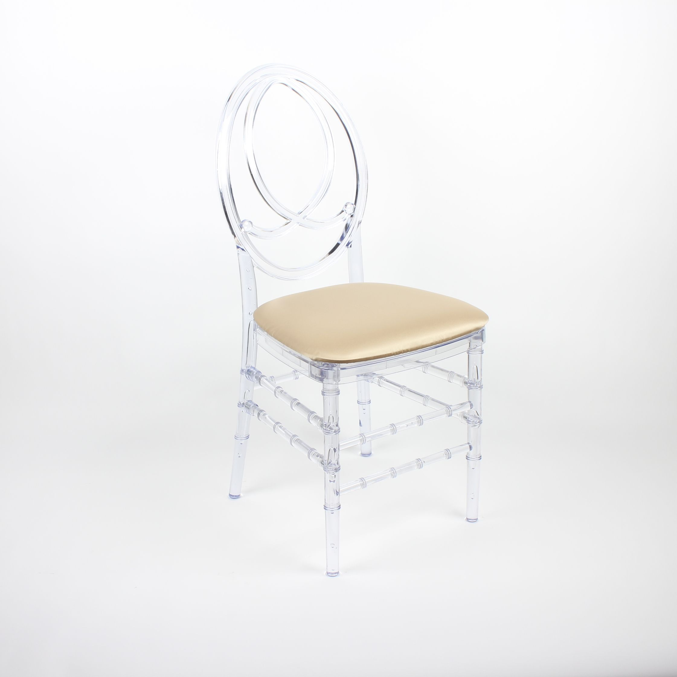 Clear Infinity Chair with Satin Gold Seat Pad