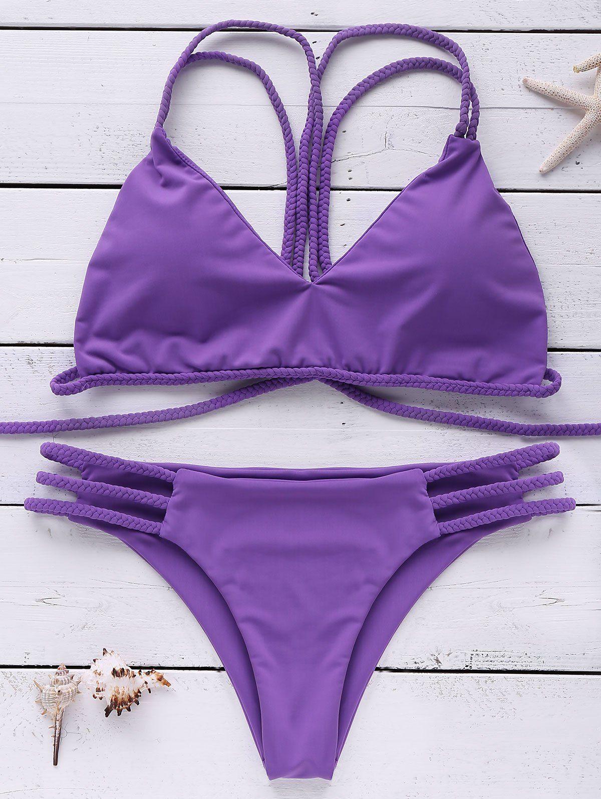 841416c89392f Stylish Strappy Braided Cut Out Bikini Set For Women in 2019 ...