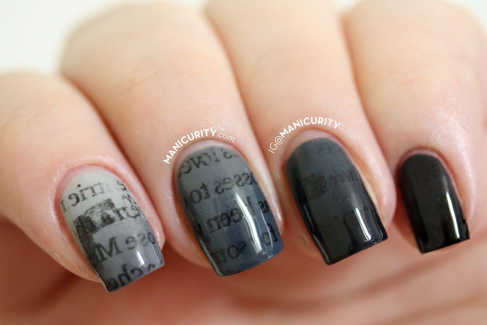 Manicurity | The Digit-al Dozen: Gradient Ombre Newsprint Nails ...