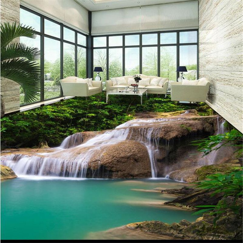 beibehang 3D flooring PVC wallpaper non - slip waterproof thickening wear - resistant self - adhesive flooring paint murals