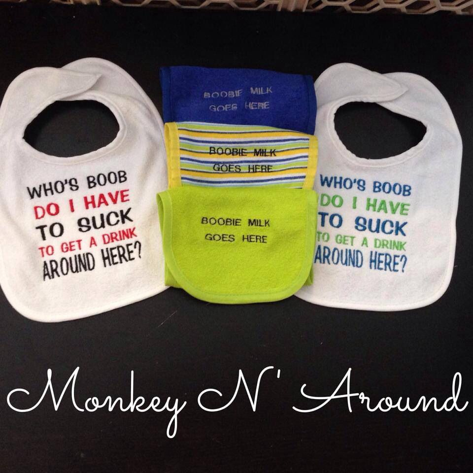Breastfeeding bibs and burp cloths. Get yours here: www.facebook.com/monkeynaroundcreations