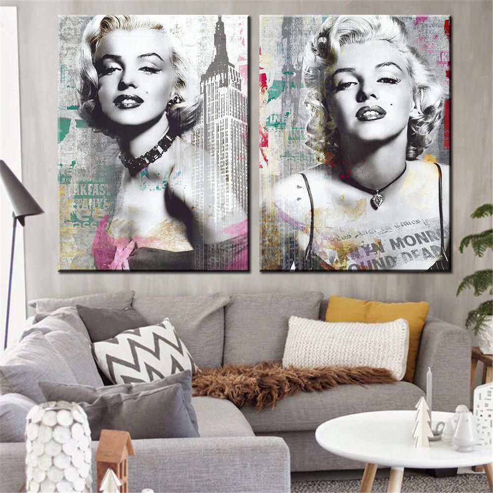 This Modern Piece Of Pop Art Comes In A Set Of Marilyn Monroe Portraits With Graffiti Background Home Marilyn Monroe Decor Home Decor Wall Art Wall Art Decor